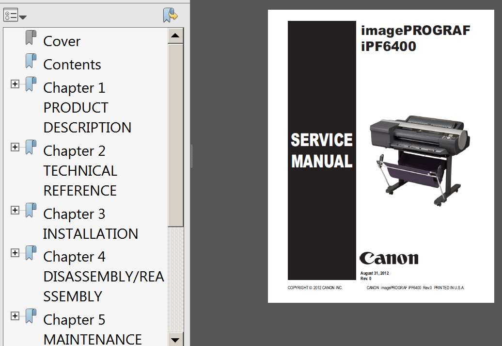 CANON imagePROGRAF iPF6400, iPF6410, iPF6450, iPF6460 Service Manual and Parts Catalog