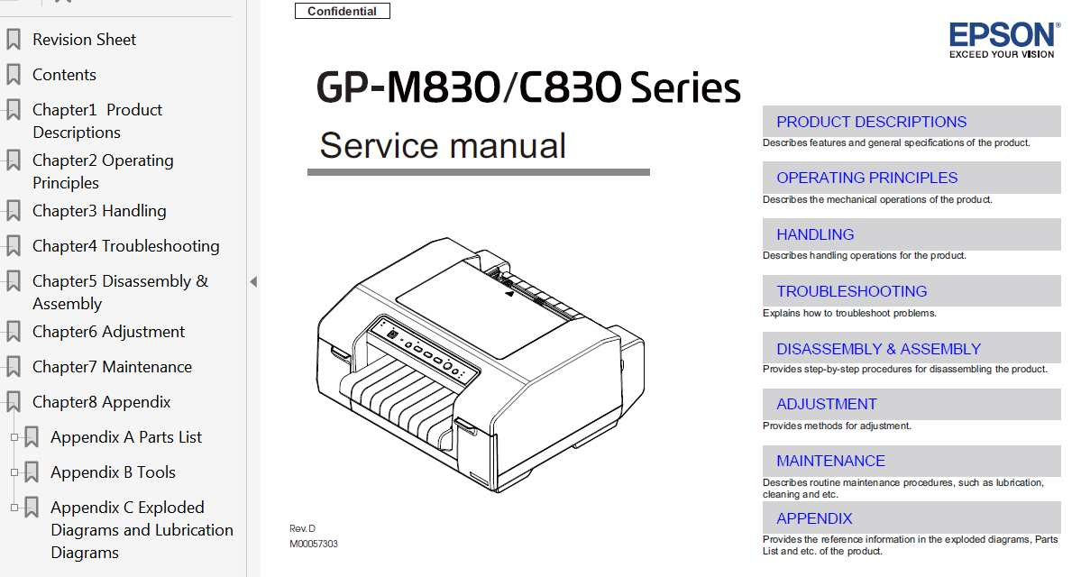 Epson GP-M830 Series, GP-C830 Series Printer Service Manual, Exploded Diagram and Parts List