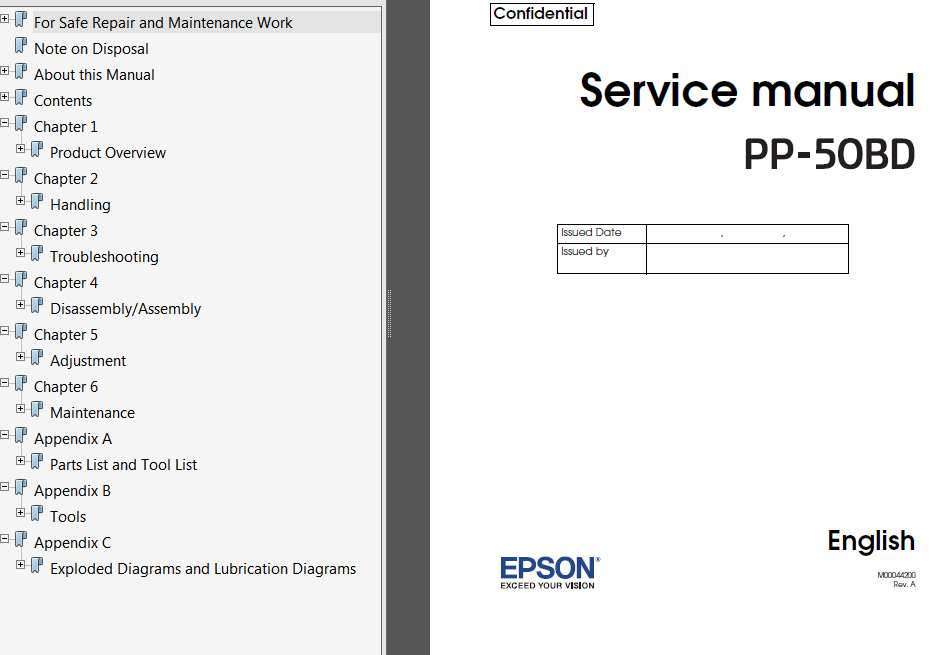 Epson <b>PP-50BD</b> DiscProducers Service Manual, Exploded Diagram and Parts List  <font color=red>New!</font>