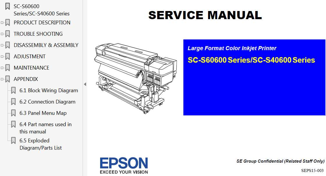 Epson SC-S60600 Series, SC-S40600 Series Printer Service Manual, Exploded Diagram and Parts List