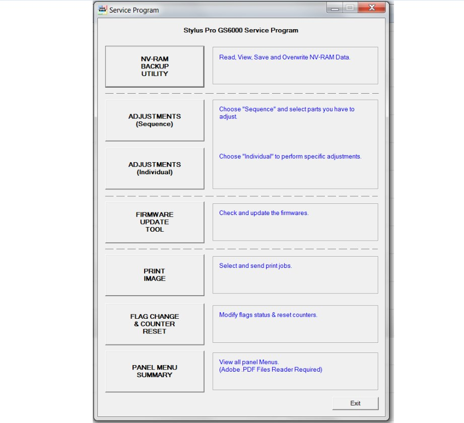 Epson Pro GS6000 Adjustment Program New - Service Manuals