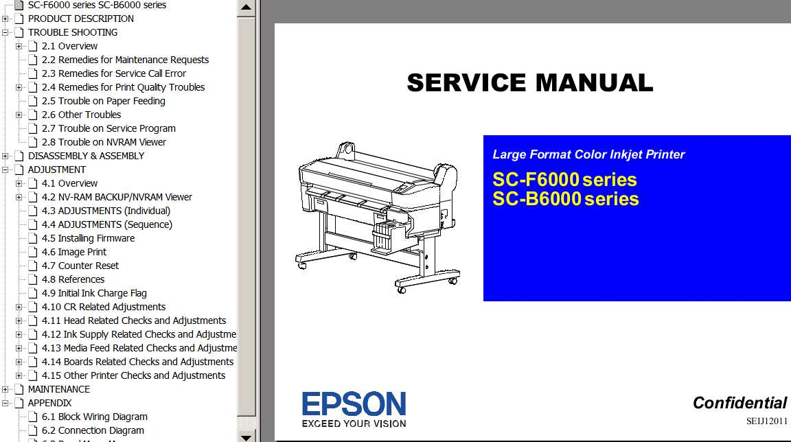 Epson <b>SC-F6000, SC-B6000  Series </b> Large Format Color Inkjet Printer  Service Manual  and Block Wiring Diagram <font color=red>New!</font>
