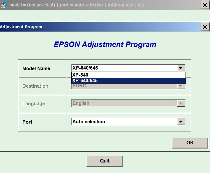 Epson <b>XP-540, XP-640, XP-645  </b> (EURO) Ver.1.0.2 Service Adjustment Program  <font color=red>New!</font>