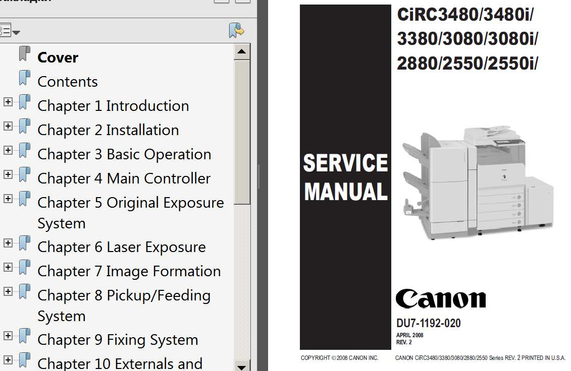 CANON iRC2550, iRC2550i, iRC2880, iR3080, iRC3080i, iRC3380, iRC3480, iRC3480i Service Manual, Parts List and Cirquit Diagram