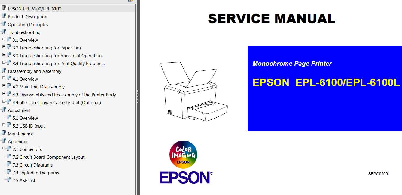Epson <b>EPL-6100, EPL-6100L</b> Printer Service Manual, diagram and parts list