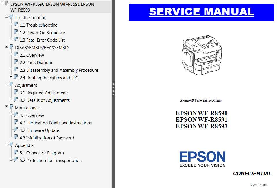 Epson <b>WF-R8590, WF-R8591, WF-R8593</b>  printers Service Manual and Connector Diagram  <font color=red>New!</font>