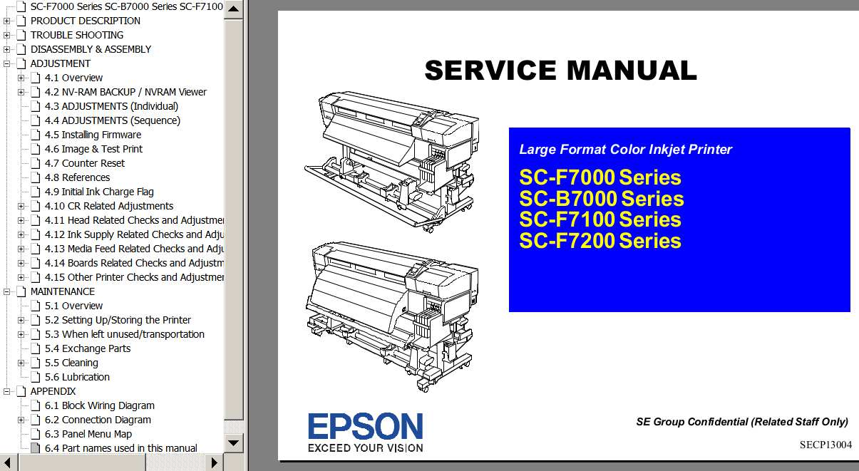 Epson <b>SC-F7000, SC-F7100, SC-F7200, SC-B7000</b>  printers Service Manual and Connector Diagram  <font color=red>New!</font>