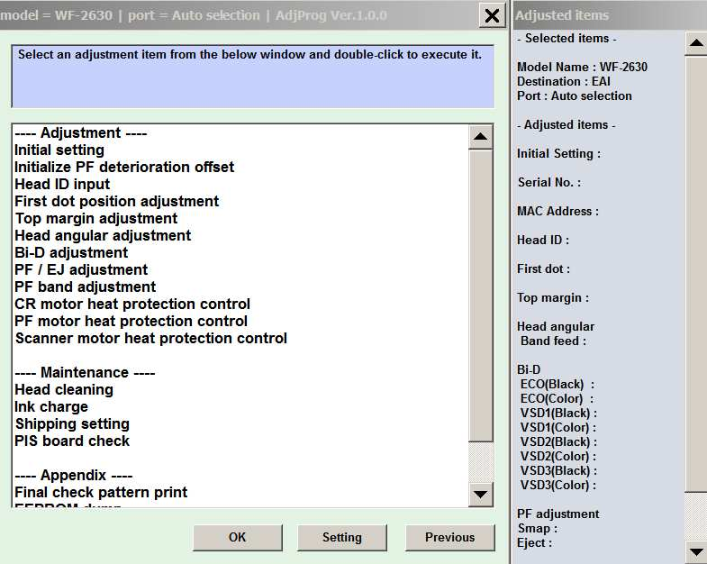 Adjustment program epson sx125