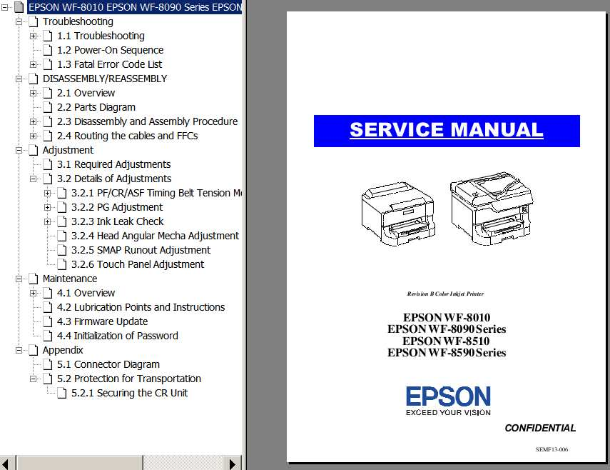 Epson <b>WF-8010, WF-8090, WF-8510, WF-8590</b>  printers Service Manual and Connector Diagram  <font color=red>New!</font>