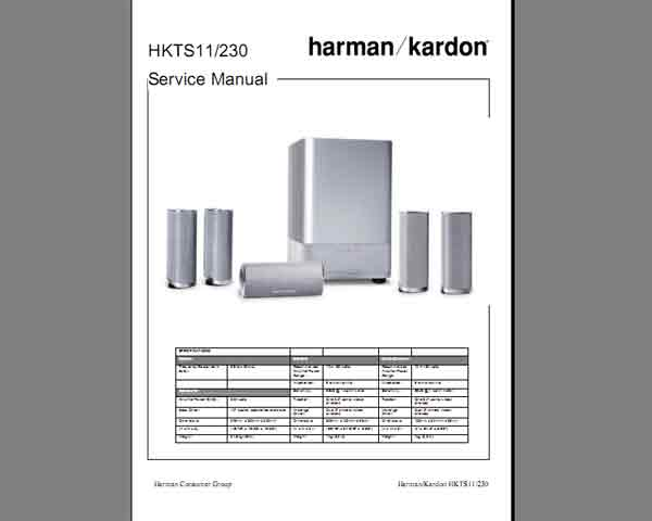 Harman Kardon HKTS11-230 Service Manual, Block and Schematics Diagram, Electrical Parts List and Exploded View