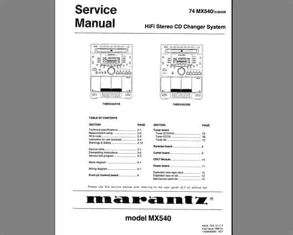 Marantz 74 MX540 (MX545) Service Manual, Exploded View, Mechanical Parts List, Schematic Diagram, Cirquit Board