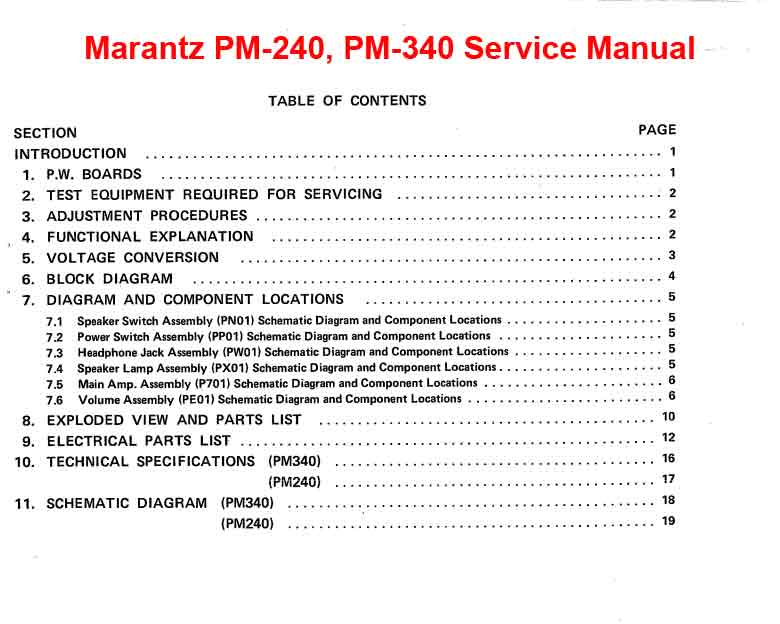Marantz PM-240, PM-340 Stereo Pre Main Amplifier  Service Manual, Exploded View, Mechanical and Electrical Parts List, Schematic Diagram, Cirquit Board