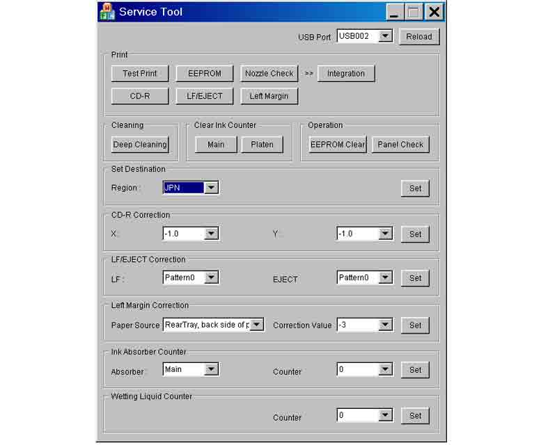CANON Service Tool V1.05 for iP3600, iP4600, MP190, MP240, MP250, MP260, MP480, MP540, MP560,  MP620, MP630, MP640, MP980, MP990 under Windows OS
