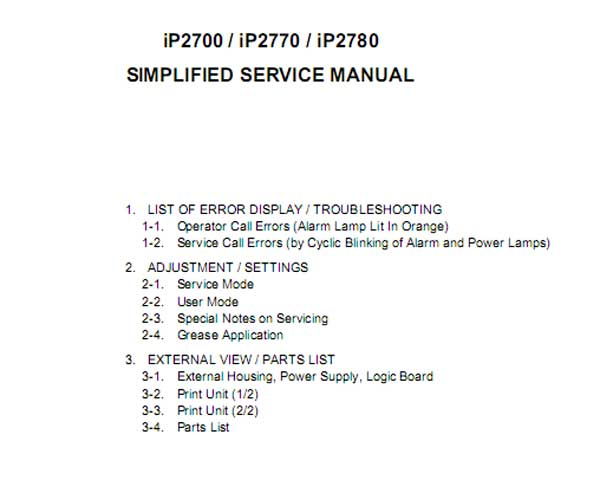 CANON iP2700, iP2770, iP2780 printers Simplified Service Manual and Parts List included