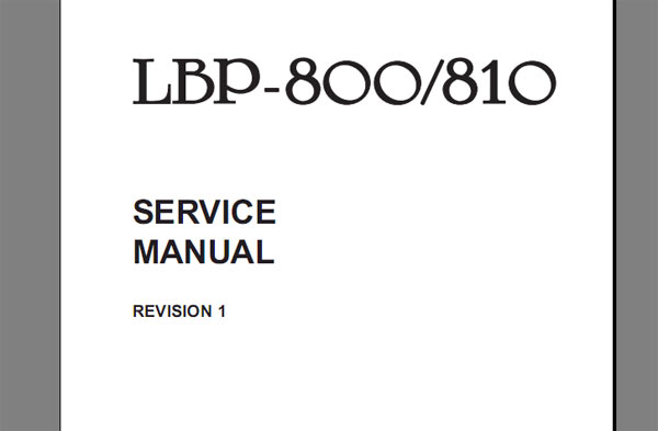 Canon Lbp-800  Lbp-810 Laser Printer Service Manual  Parts Catalog And Cirquit Diagram
