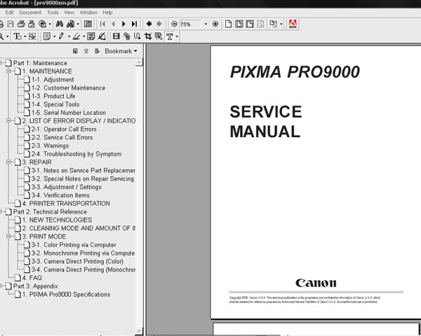 canon pixma pro9000 pro 9000 service manual parts catalog rh digitalrepairmanuals info Canon Printer Drivers Canon Printer Drivers