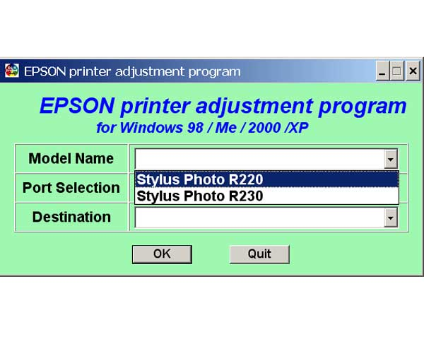 Epson R220, R230 Printers Service Adjustment Program