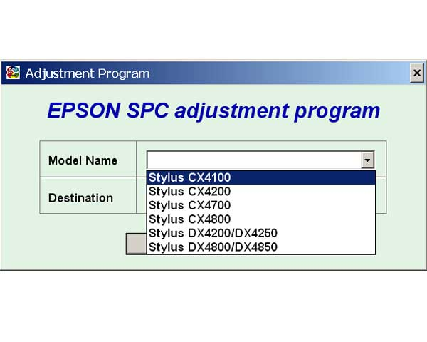 EPSON CX4100, CX4200, CX4700, CX4800, DX4200, DX4250, DX4800, DX4850 Service Adjustment Program