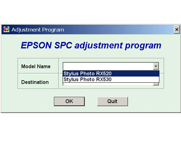 Epson RX520, RX530 Service Adjustment Program