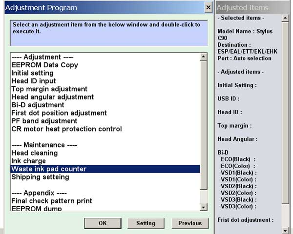 Epson C90 Service Adjustment Program