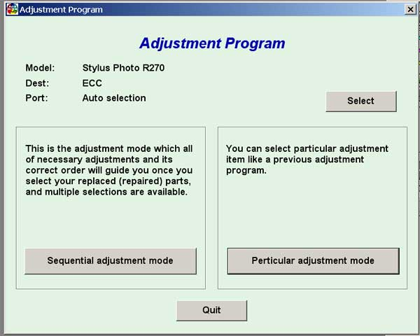 Epson R270 Service Adjustment Program