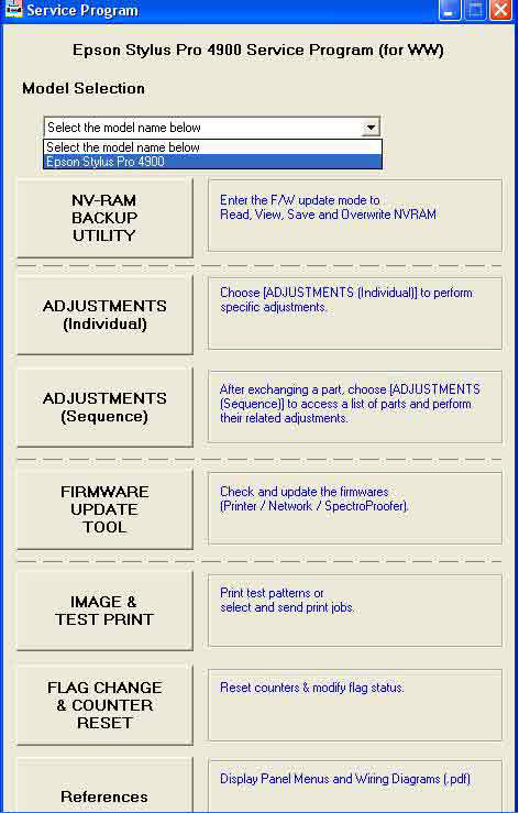 Epson <b>Pro 4900</b> Adjustment Program