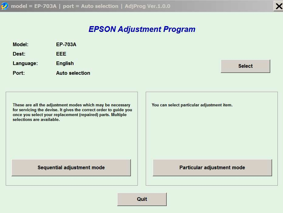 Epson <b>EP-703A </b> (EEE) Ver.1.0.0 Service Adjustment Program  <font color=red>New!</font>