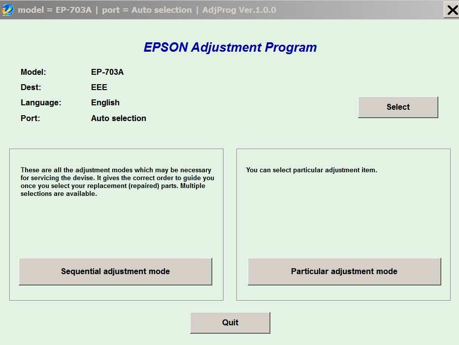 Epson EP-703A (EEE) Ver 1 0 0 Service Adjustment Program New