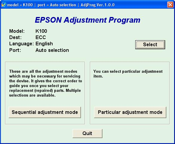 Epson <b>K100</b> (ECC) Ver.1.0.0 Service Adjustment Program  <font color=red>New!</font>