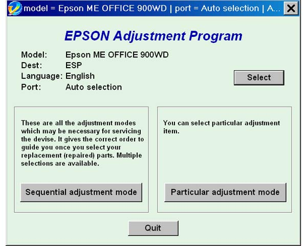 Epson <b>ME900WD</b> Service Adjustment Program <font color=red>New!</font>