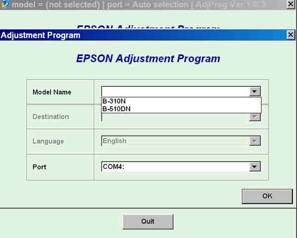 Epson <b>B310N, B510DN</b> (EURO) Ver.1.0.3 Service Adjustment Program  <font color=red>New!</font>