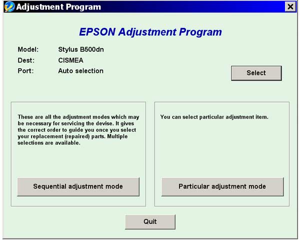 Epson <b>B500dn</b> Service Adjustment Program  <font color=red>New!</font>