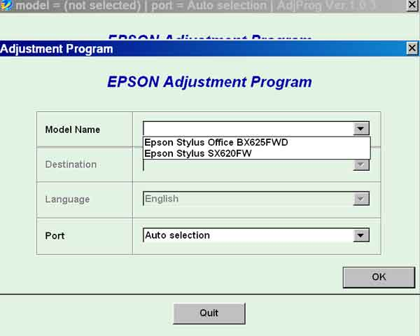 Epson <b>BX625FWD, SX620FW</b> (EURO or CISMEA) Ver.1.0.3 Service Adjustment Program  <font color=red>New!</font>
