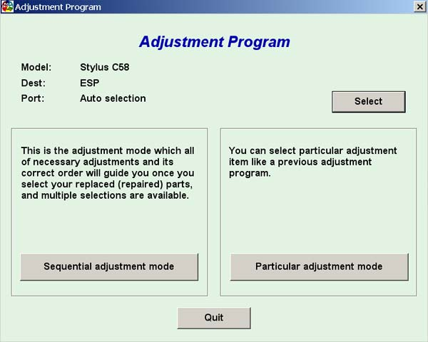 Epson C58 Service Adjustment Program