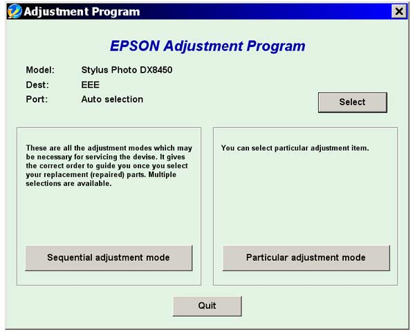 Epson <b>DX8450</b> Service Adjustment Program