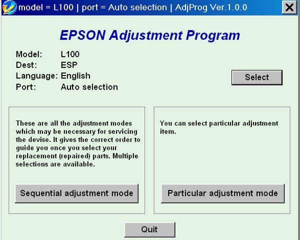 Epson Adjustment Program L100 - primaletter