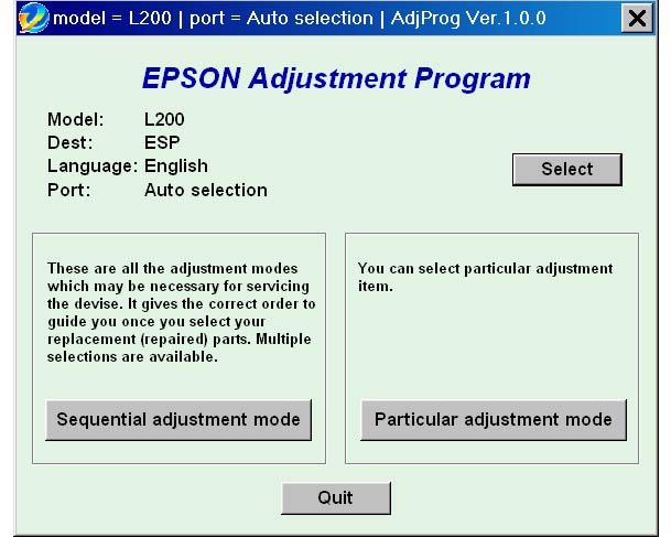 Epson <b>L200</b> (ESP) Ver1.0.0 Service Adjustment Program  <font color=red>New!</font>