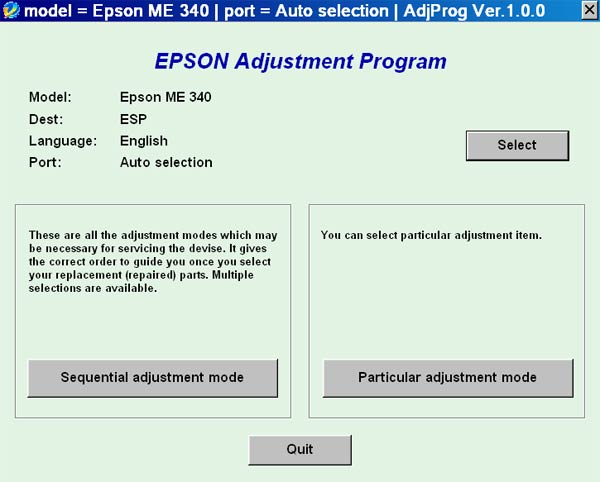 Epson <b>ME340</b> Service Adjustment Program