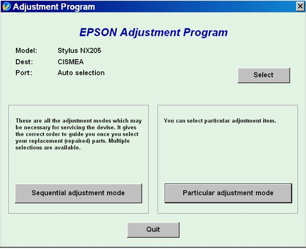 Epson <b>NX205</b> Service Adjustment Program