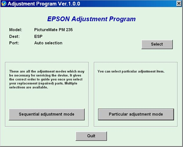 Epson <b>PictureMate PM235</b> Service Adjustment Program <font color=red>New!</font>