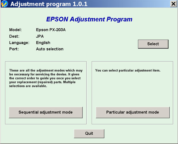 Epson <b>PX-203A </b> (JPA) Ver.1.0.1 Service Adjustment Program  <font color=red>New!</font>