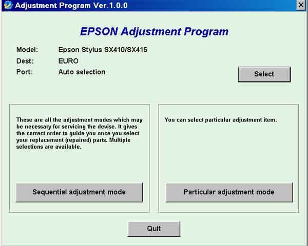 Epson <b>SX410, SX415</b> (EURO) Ver 1.0.0 Service Adjustment Program  <font color=red>New!</font>