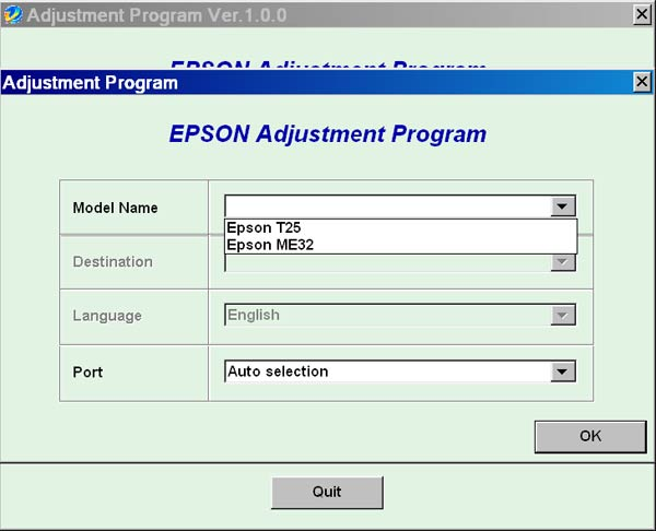 Epson <b>T25, ME32</b> Service Adjustment Program <font color=red>New!</font>