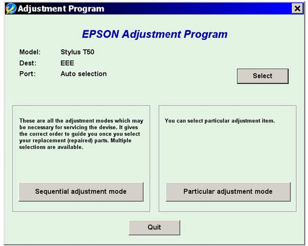 The Epson Adjustment Program for Epson T50, T59 can be used under ...