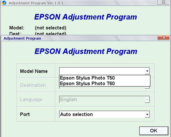 Epson <b>T50, T60</b> Service Adjustment Program  <font color=red>New!</font>