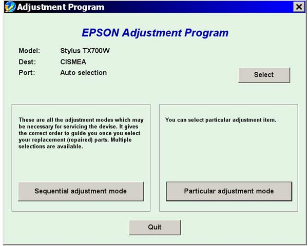 Epson <b>TX700W</b> Service Adjustment Program <font color=red>New!</font>