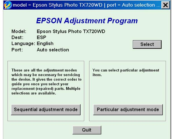 Epson <b>TX720WD</b> Service Adjustment Program <font color=red>New!</font>