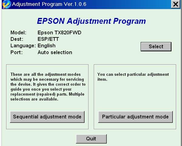 Epson TX820FWD Service Adjustment Program ESP ETT New