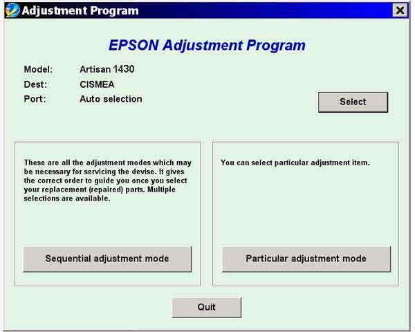 Epson <b>Artisan 1430 </b> Service Adjustment Program <font color=red>Coming soon!</font>