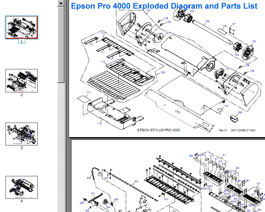 Epson Pro 4000 Exploded Diagram and Parts List